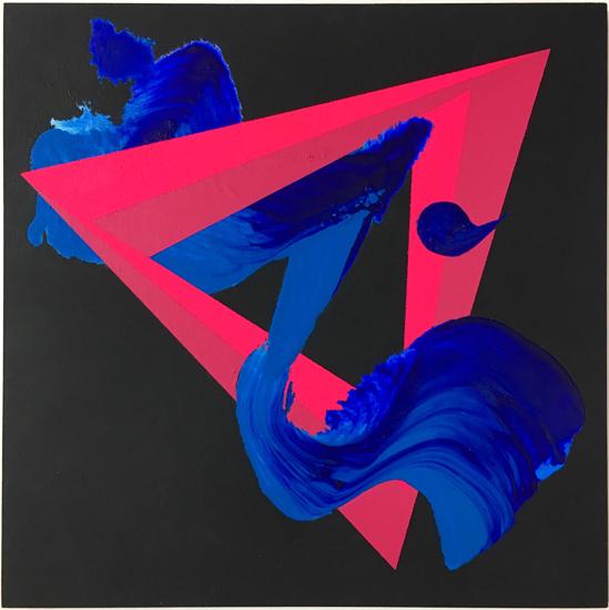 Razor, 2018, Acrylic, Spray Paint & Blackboard Paint on Board 20cm x 20cm